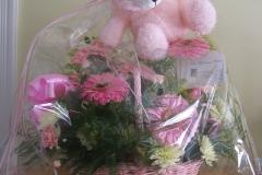 baby girl bouquet with stuffed animal