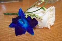Dendrobium and cream rose bouquet blanc