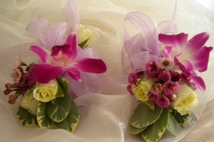 Orchid and rose wrist corsage