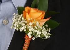 orange rose with baby breath