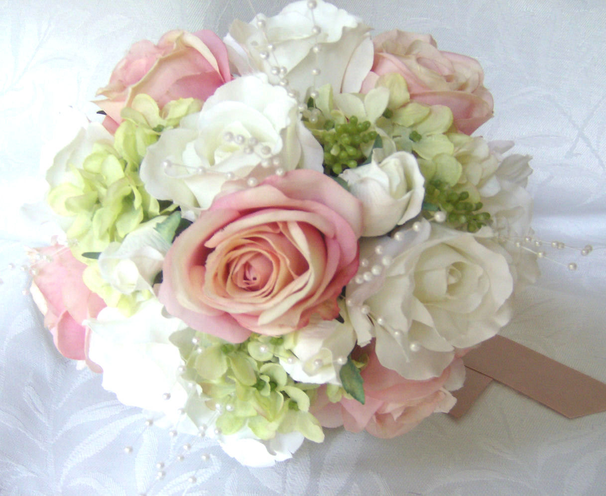 bridalbouquets pink blush roses white roses green hydrangea