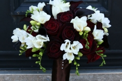 Wedding bouquet-black-roses-white-freesia-calla