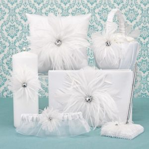 fFeathered flair white satin 6 piece collection