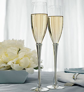Silver And Rhinestone Personalized Wedding Champagne Glasses
