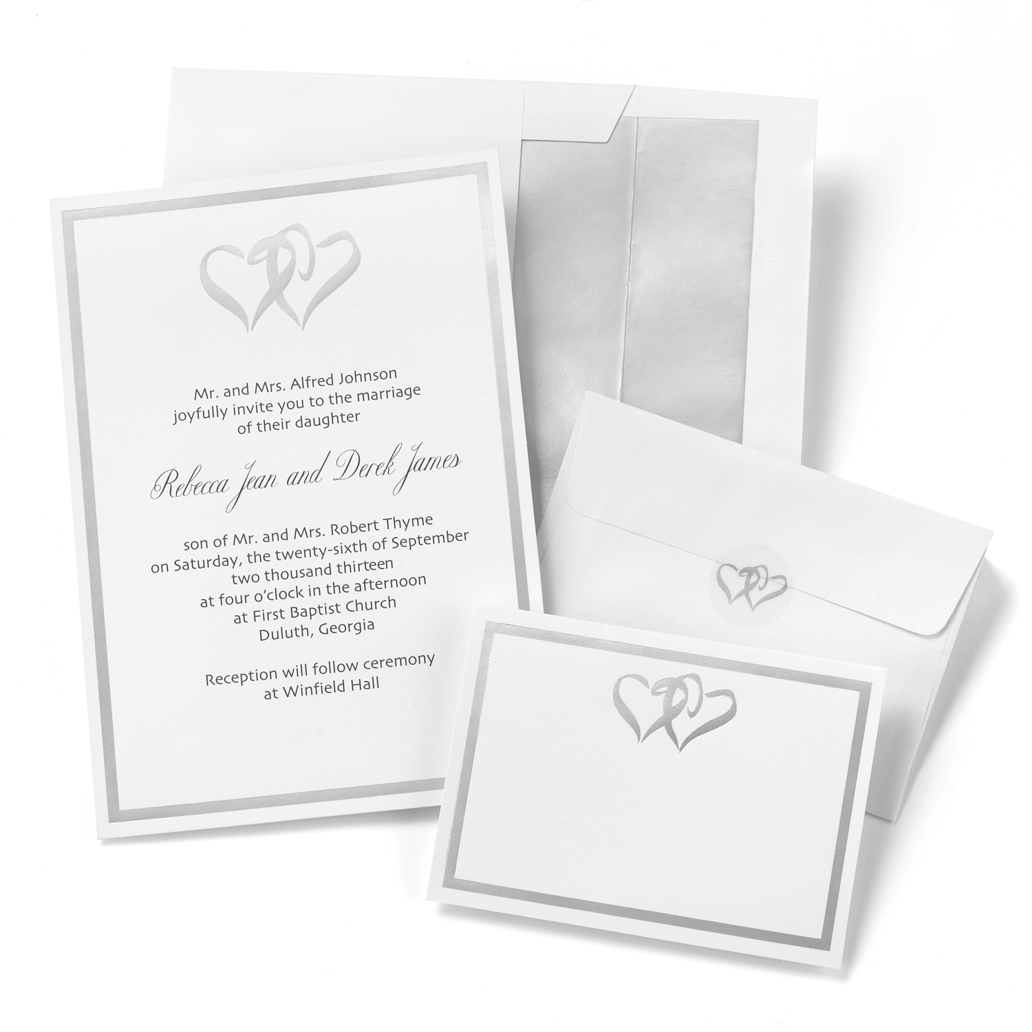 White invitations with silver foil border and linked heart design ...