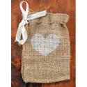 Burlap heart Favor Bags