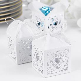 Decorative White Favor Boxes