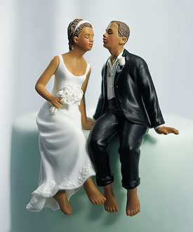 Sitting Bride and Groom Cake Topper