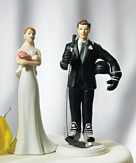 24cc24057c Hockey Player Groom cake top. Cheering Bride big fan of her groom