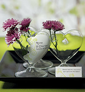 Miniature Clear Blown Glass Heart Vase (4)
