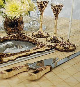 Elegant Vintage Rose Cake Serving Set