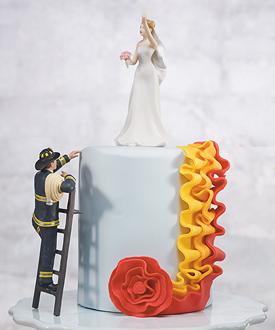 Fireman Groom Figurine cake top