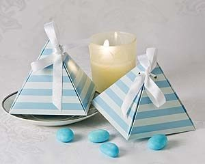 """Something Blue"" Pyramid Favor gift boxes with pale blue stripes"