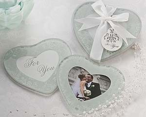 """Heartfelt Memories"" Frosted Heart Photo Coasters"