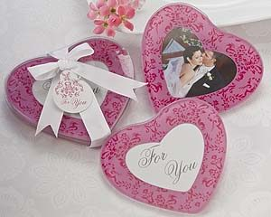 Pink glass Heart Photo Coasters