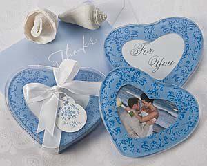 Blue Heart Glass Photo Coasters