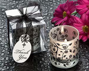 Frosted Elegance black & white tea light holder