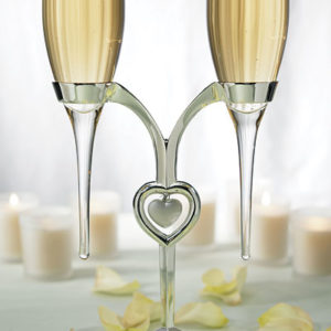 champagne glasses with Silver Plated Stand