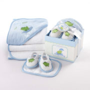 Finley Frog four piece bathtime gift set
