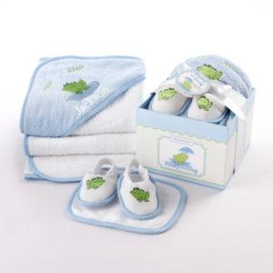 Finley Frog four piece bathtime gift set