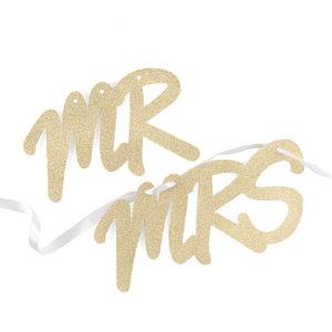 Glitter Mr & Mrs Sign Set - Gold