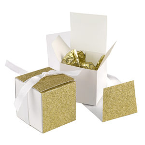 Gold glitter wrap favor boxes