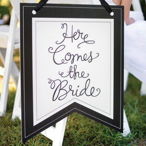 Here Comes the Bride Pennant Sign