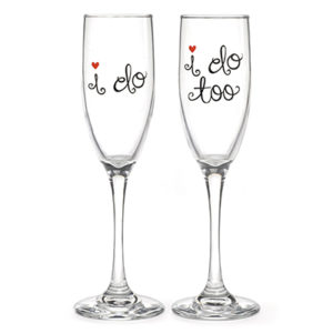 Glass flutes printed black red heart accents I do Flutes.