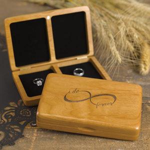 Infinity Wooden Ring Box Alder wood ring black felt lining