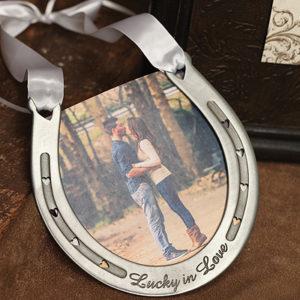 Lucky in Love pewter ring bearer Horse shoe