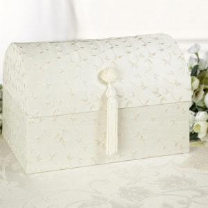 Elegant Satin Card Box Ivory