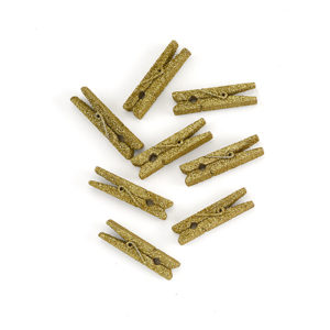 Gold mini glitter clothespins
