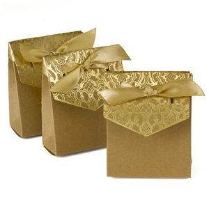 Gold vintage tent favor boxes