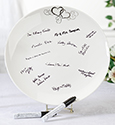 Round Silver Heart Guest Signing Plate
