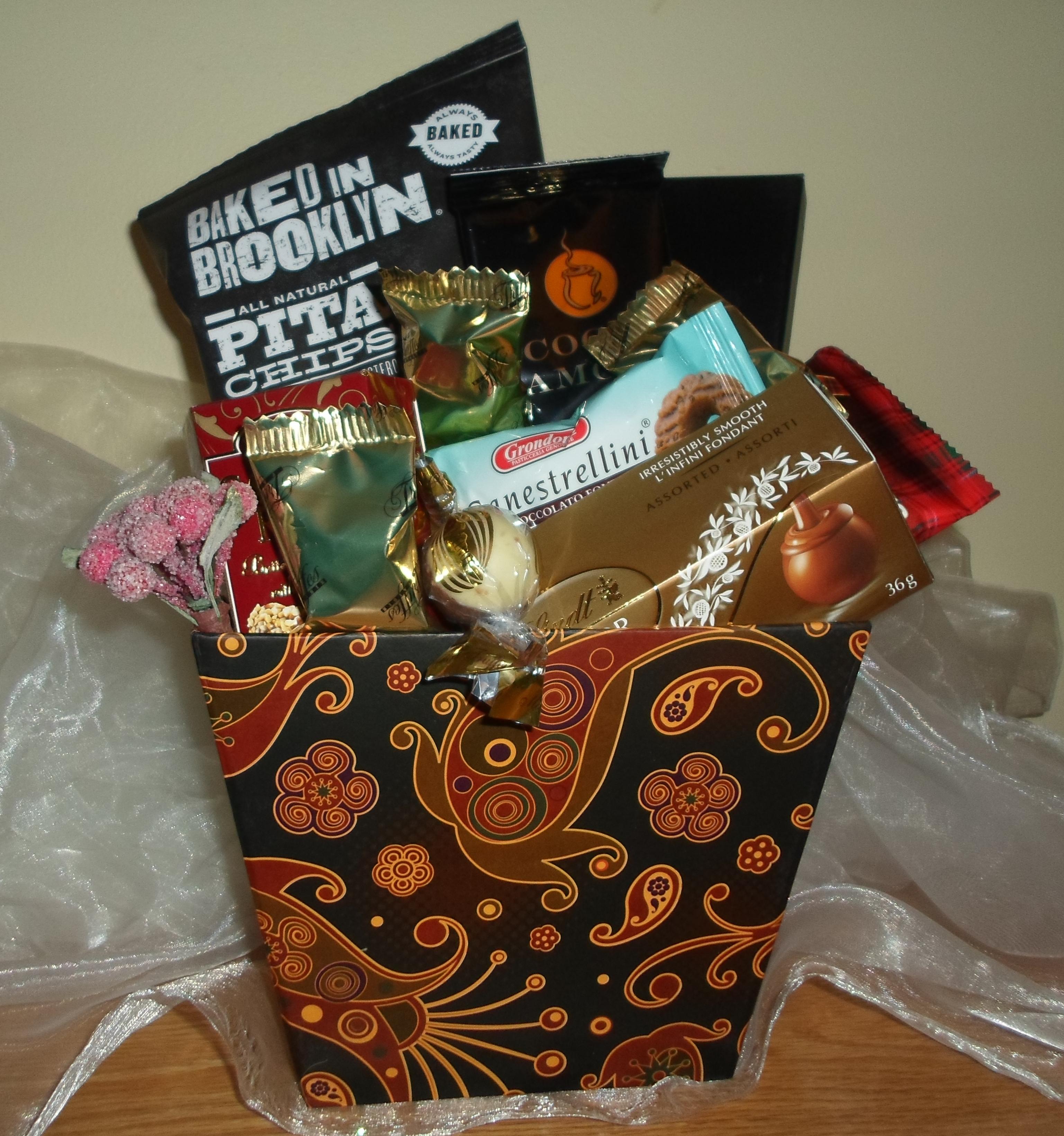 Brown paisley gift basket
