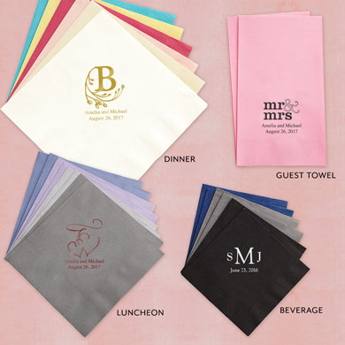 Foil Printed Personalized Paper Wedding Napkins
