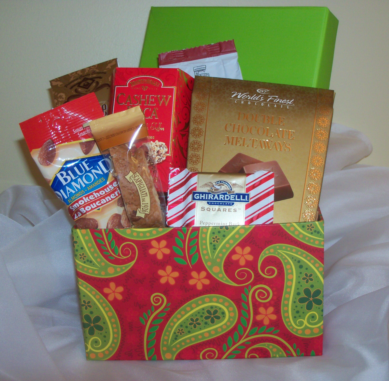 Green paisley gift box gift basket