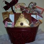 Red embossed metal gift basket