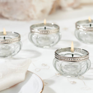 Glass tea light votive candle holders