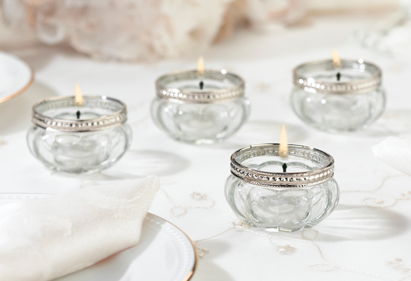 Glass Tea Light Votive Candle Holders Lebouquet Blanc
