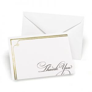 Gold elegance thank you cards