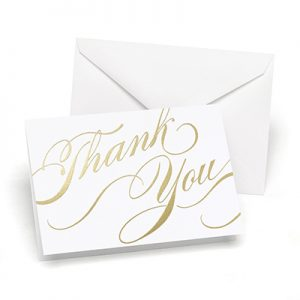 Gold unending gratitude thank you cards