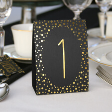 Polka dot table number tents gold