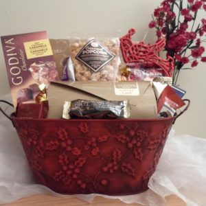 Red poinsetta holiday gift basket