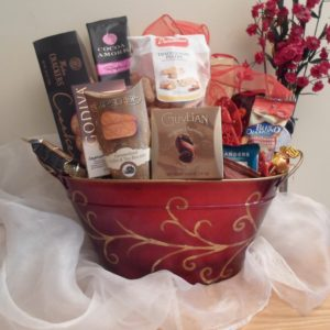 Red Gold swirl holiday gift basket