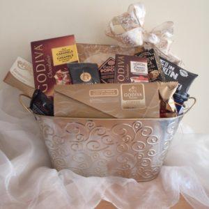 Silver linings metal Godiva gift basket