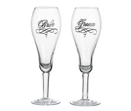 Bride and Groom elegant flute engraved toasting glasses