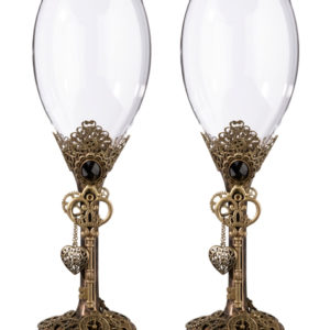 Steampunk decorated ornate bronze wine glasses