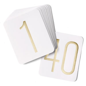 Table Number Cards - Gold
