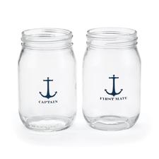 Nautical drinking jars 16oz set
